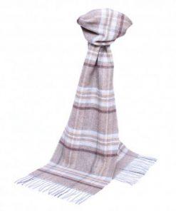 Beige skotskternet tørklæde