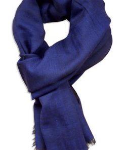 Marine blåt tørklæde i silke og uld