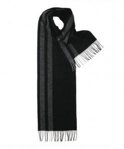 Sort halstørklæde med grå striber