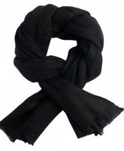 Sort pashmina tørklæde i cashmere twill