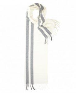 Stribet halstørklæde i råhvid og mørkegrå